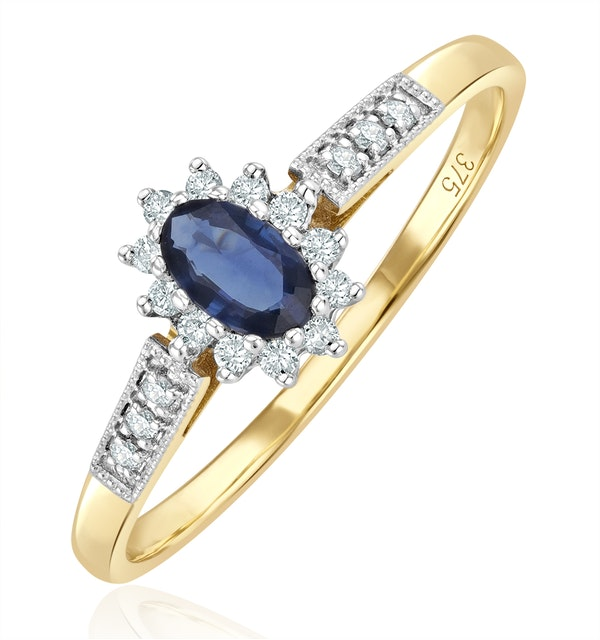 Sapphire 5 x 3mm And Diamond 9K Gold Ring  A3261 - image 1