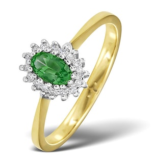 Emerald 5 x 3mm And Diamond 18K Gold Ring -  FET29-G