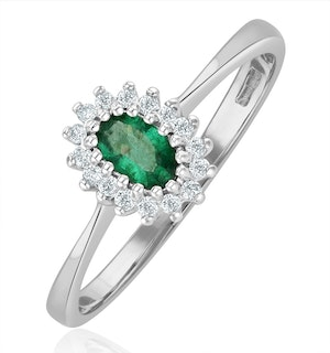 Emerald 5 x 3mm And Diamond 9K White Gold Ring  A4450
