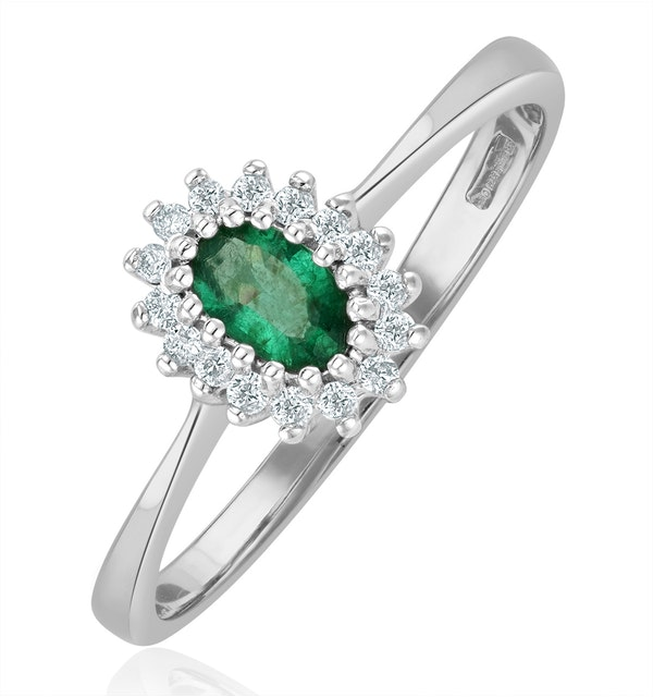 Emerald 5 x 3mm And Diamond 9K White Gold Ring  A4450 - image 1