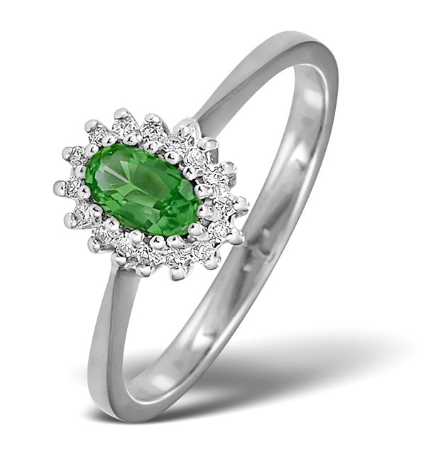 Emerald 5 x 3mm And Diamond 18K White Gold Ring  FET29-GY - image 1