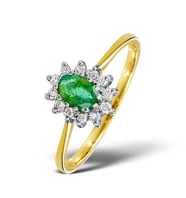 Emerald 6 x 4mm And Diamond 9K Gold Ring  A3207 - image 1
