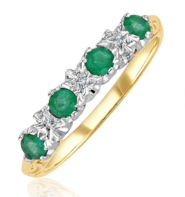 Emerald 0.28ct And Diamond 9K Gold Ring - image 1