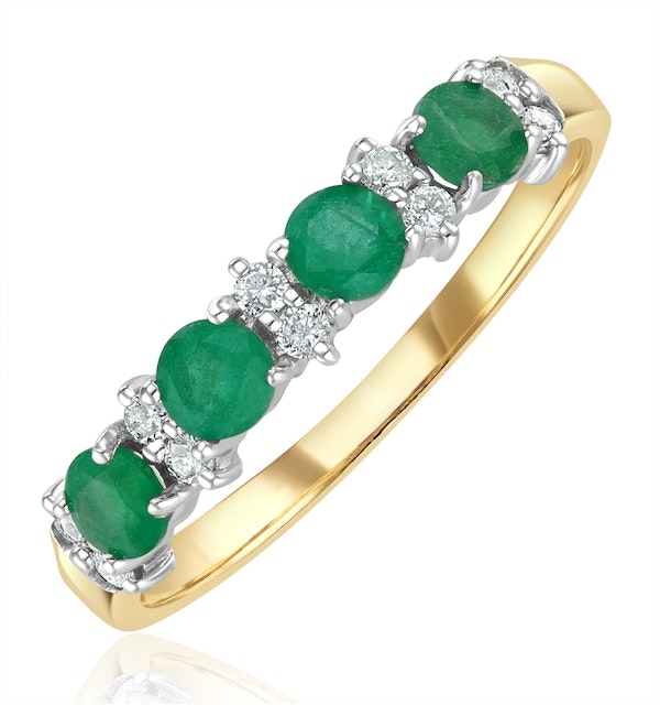 Emerald 0.60ct And Diamond 9K Gold Ring - image 1