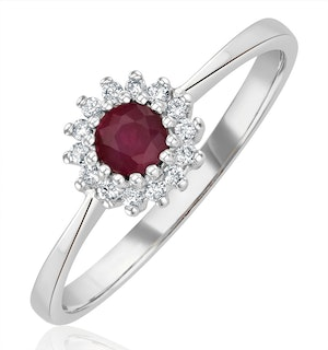 Ruby 3.5 x 3.5mm And Diamond 18K White Gold Ring