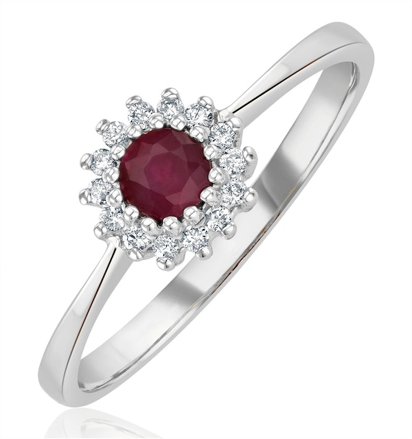 Ruby 3.5 x 3.5mm And Diamond 9K White Gold Ring - image 1
