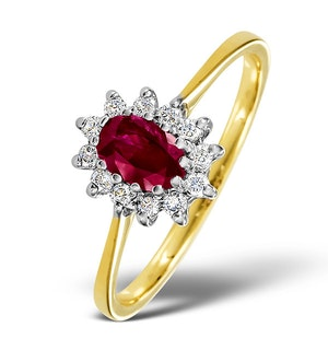 Ruby 6 x 4mm And Diamond 18K Gold Ring  FET33-T