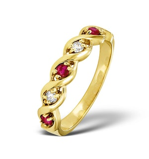 Ruby 0.20ct And Diamond 9K Gold Ring