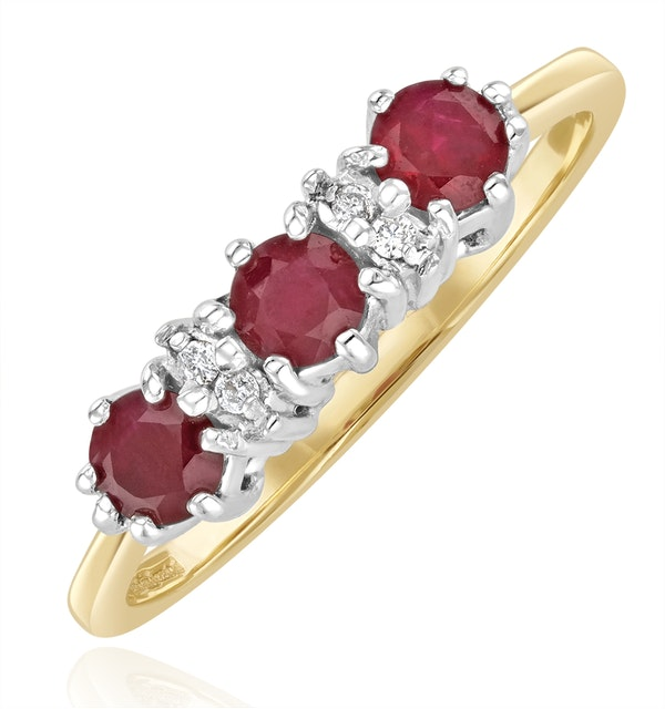Ruby 0.58ct And Diamond 9K Gold Ring  A3399 - image 1