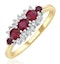 Ruby 0.66ct And Diamond 9K Gold Ring - image 1