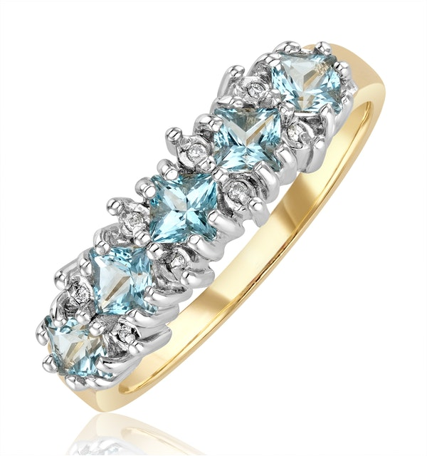 Blue Topaz 3mm And Diamond 9K Yellow Gold Ring - image 1