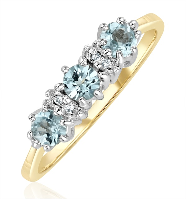 Blue Topaz 0.50CT And Diamond 9K Yellow Gold Ring - image 1