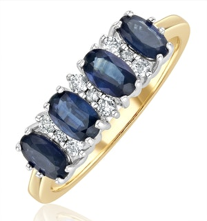 Sapphire 5 x 3mm And Diamond 9K Gold Ring