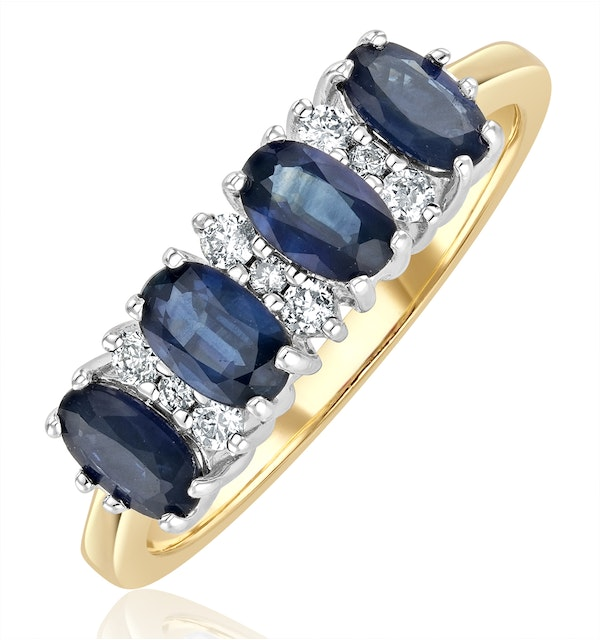 Sapphire 5 x 3mm And Diamond 18K Gold Ring  FET39-U - image 1