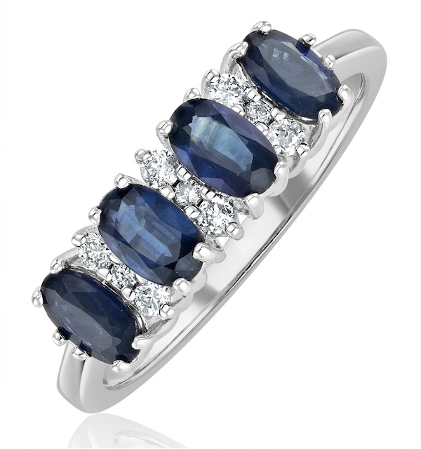 Sapphire 5 x 3mm And Diamond 9K White Gold Ring  A4452 - image 1