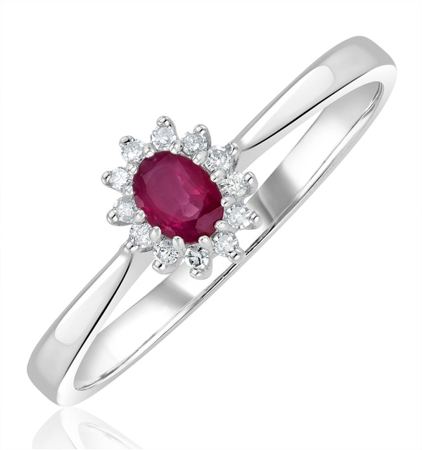 Ruby 4 x 3mm And Diamond 9K White Gold Ring - image 1