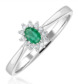 Emerald 4 x 3mm And Diamond 9K White Gold Ring