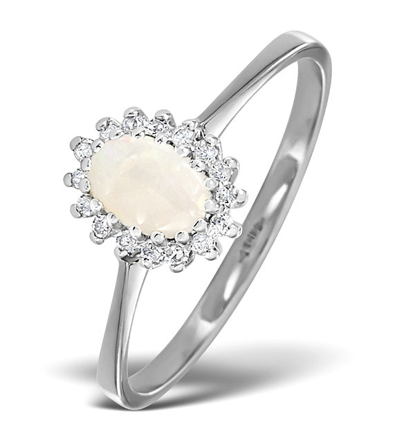Opal 6 x 4mm And Diamond 9K White Gold Ring - Size F - image 1
