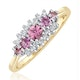 Pink Sapphire and 0.12ct Diamond Ring 9K Yellow Gold - image 1