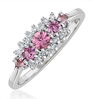 Pink Sapphire and 0.12ct Diamond Ring 9K White Gold