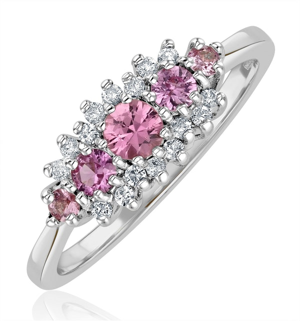 Pink Sapphire and 0.12ct Diamond Ring 9K White Gold - image 1
