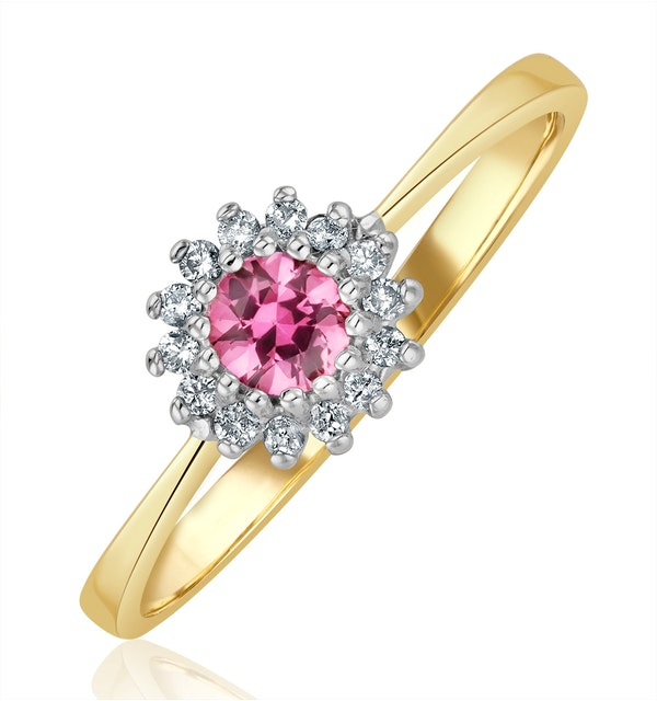 18K Gold Diamond and Pink Sapphire Ring 0.07ct - image 1