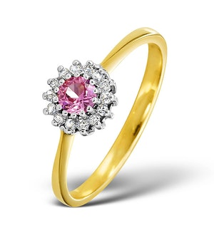 Pink Sapphire and 0.07ct Diamond Ring 9K Yellow Gold
