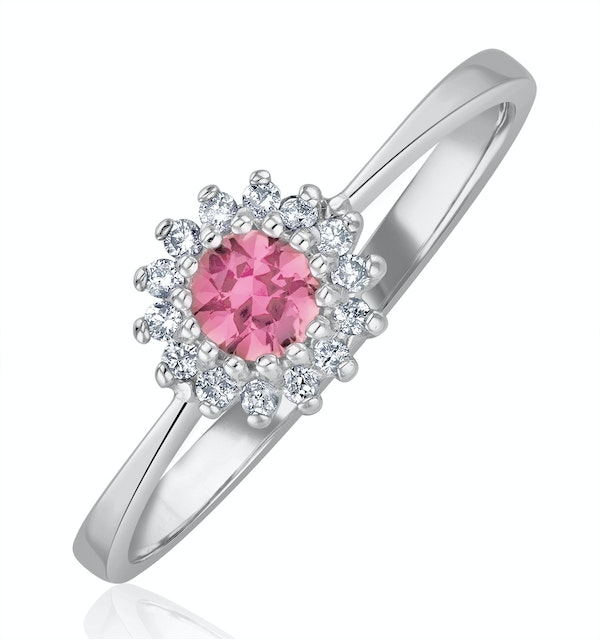 Pink Sapphire and 0.07ct Diamond Ring 9K White Gold - image 1