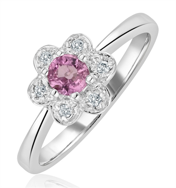 Pink Sapphire and 0.06ct Diamond Ring 9K White Gold - image 1