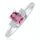 9K White Gold Diamond Pink Sapphire Ring 0.06ct - image 1
