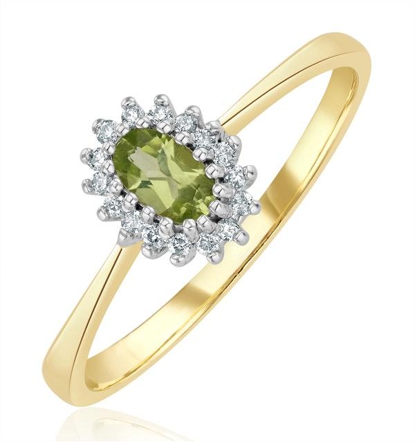 Peridot 5 x 3mm And Diamond 9K Yellow Gold Ring - image 1
