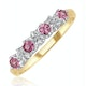 0.40ct Pink Sapphire and Diamond Ring 9K Yellow Gold - image 1