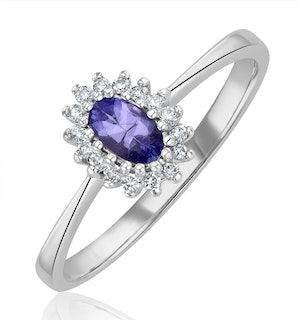 Tanzanite 5 x 3mm And Diamond 9K White Gold Ring  A4323Y
