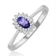 Tanzanite 5 x 3mm And Diamond 18K White Gold Ring  FET29-VY - image 1