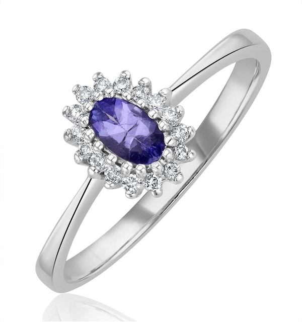Tanzanite 5 x 3mm And Diamond 9K White Gold Ring  A4323Y - image 1