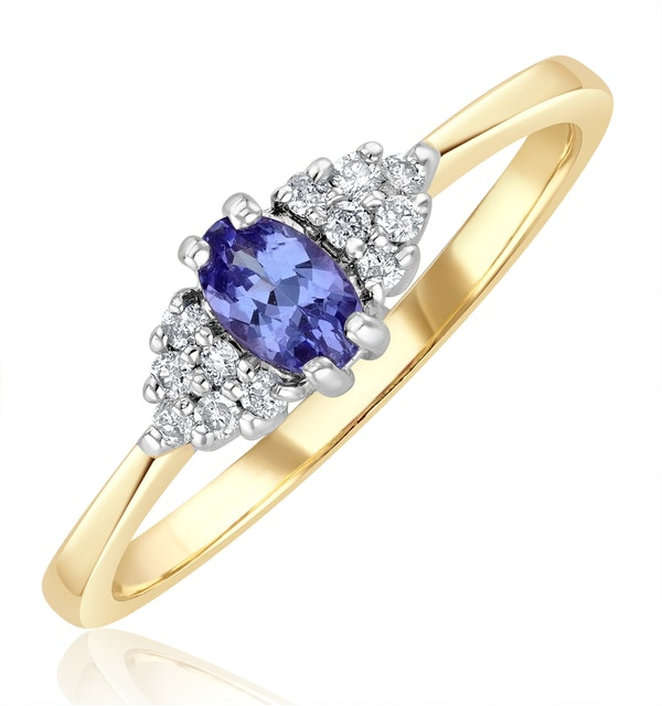 Tanzanite 5 x 3mm And Diamond 9K Gold Ring  A4324 - image 1