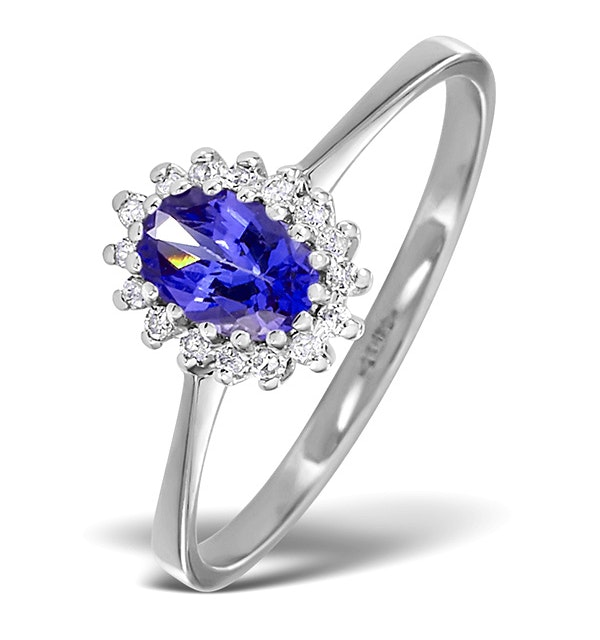 Tanzanite 6 x 4mm And Diamond 18K White Gold Ring  FET20-VY - image 1