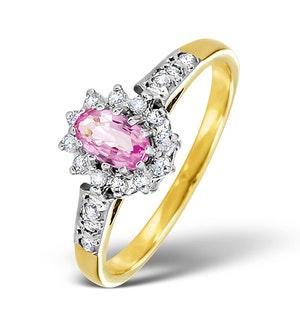 9K Gold Diamond Pink Sapphire Ring 0.14ct
