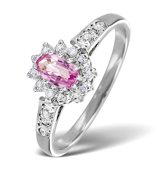 18K White Gold Diamond Pink Sapphire Ring 0.14ct - image 1