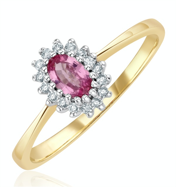 18K Gold Diamond and Pink Sapphire Ring 0.05ct - image 1