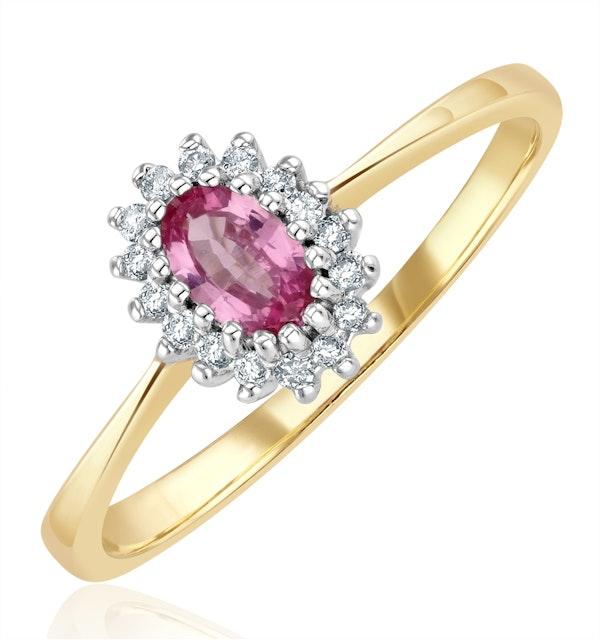 9K Gold Diamond Pink Sapphire Ring 0.05ct - image 1