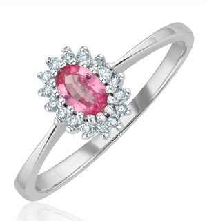 9K White Gold Diamond Pink Sapphire Ring 0.05ct