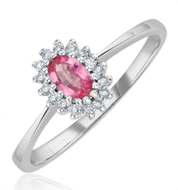 9K White Gold Diamond Pink Sapphire Ring 0.05ct - image 1