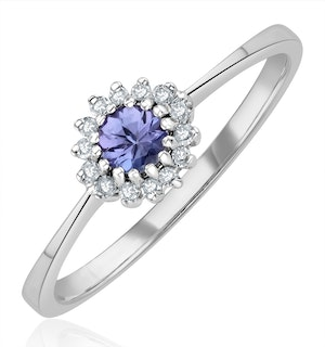Tanzanite 3.5 x 3.5mm And Diamond 18K White Gold Ring