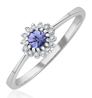 Tanzanite 3.5 x 3.5mm And Diamond 9K White Gold Ring