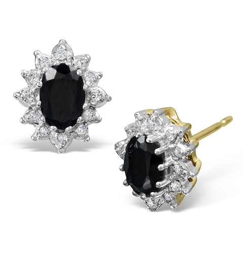 Sapphire 6mm x 4mm And Diamond 9K Yellow Gold Earrings - image 1