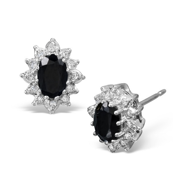 Sapphire 6mm x 4mm And Diamond 9K White Gold Cluster Earrings B3737 - image 1