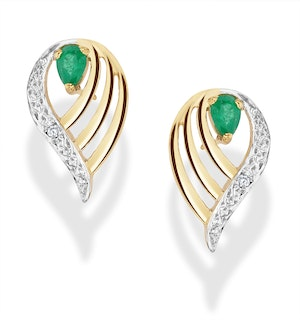 Emerald 4 x 3mm And Diamond 9K Yellow Gold Earrings