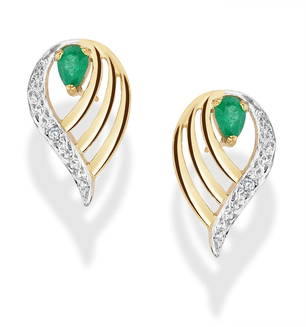 Emerald 4 x 3mm And Diamond 9K Yellow Gold Earrings - image 1