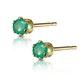 Emerald 3 x 3mm 9K Yellow Gold Earrings - image 2
